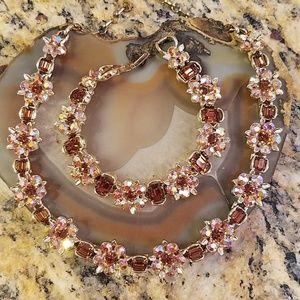 Vintage Lisner topaz choker & bracelet set GUC